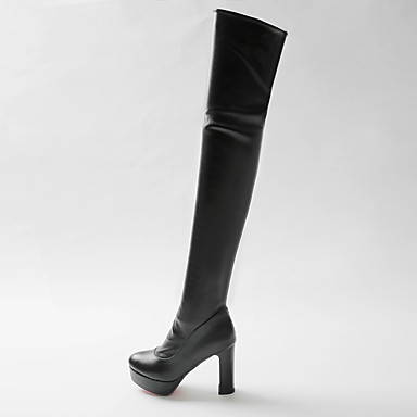 18ebbfdb8c196 Women's Shoes Leatherette Fall / Winter Fashion Boots Boots Round Toe Thigh-high  Boots White / Black