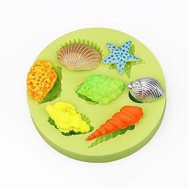 Conchas do mar verão praia cupcake decoração silicone fundente molde sugarcraft ferramentas polímero argila chocolate cor aleatória
