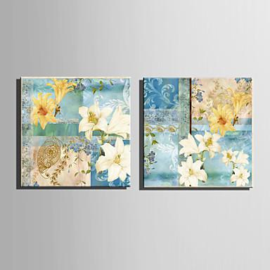 canvas Set Floral/Botânico Estilo Europeu,2 Painéis Tela Quadrangular Impressão artística wall Decor For Decoração para casa