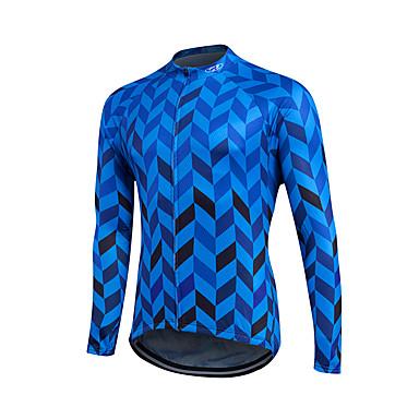 Fastcute Homens Mulheres Unisexo Manga Longa Camisa para Ciclismo - Vermelho Azul Padrão Diagonal Tamanhos Grandes Moto Pulôver Camisa / Roupas Para Esporte Blusas, Respirável Térmico / Quente