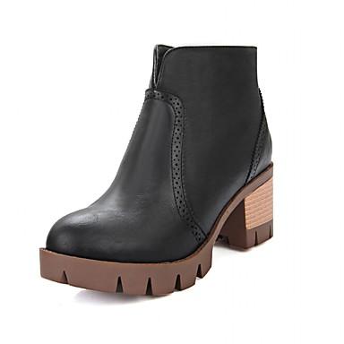 Støvler-laklæder Kunstlæder-Plateau Ridestøvler Originale Cowboystøvler Snowboots-Dame-Sort Grå Beige-Bryllup Udendørs Kontor Formelt
