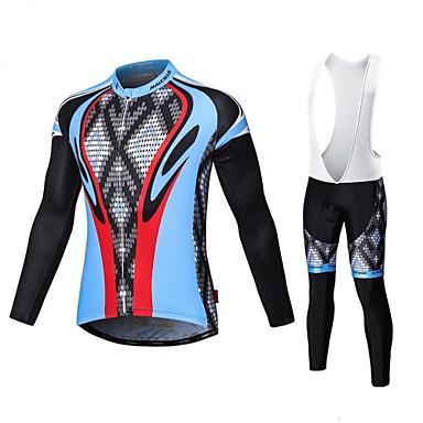0e8b4907f3bd Malciklo Men s Long Sleeve Cycling Jersey with Bib Tights - White Black  Bike Tights Breathable 3D