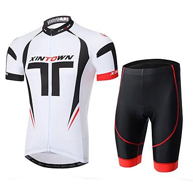 XINTOWN Wielrenshirt met shorts Heren Korte mouw Fietsen Shirt Short/Broekje Sneldrogend Ultra-Violetbestendig Ademend 3D Pad