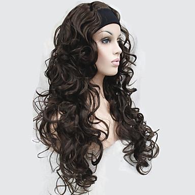Synthetische Perücken Locken Synthetische Haare Perücke Damen Lang Kappenlos Braun