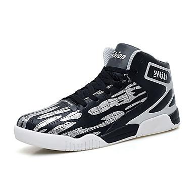 Heren Sneakers Lente Herfst Comfortabel PU Casual Platte hak Veters Zwart Zilver ブラックとレッド