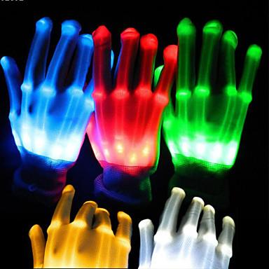 1pair iluminação led luvas fulgor luvas coloridas esqueleto para decorações do partido dançando brinquedos luminosos