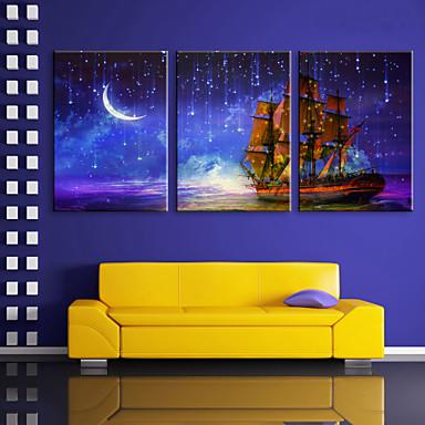 E-HOME® Stretched LED Canvas Print Art The Moon under The Sea Voyage LED Flashing Optical Fiber Print Set of 3