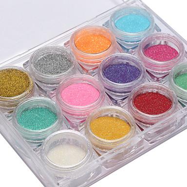 12pcs Glitter 12 farver Negle kunst Manicure Pedicure glitter / Glitter & Sparkle