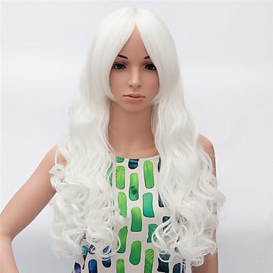 Pelucas sintéticas Ondulado Pelo sintético Peluca afroamericana Blanco Peluca Mujer Larga Sin Tapa