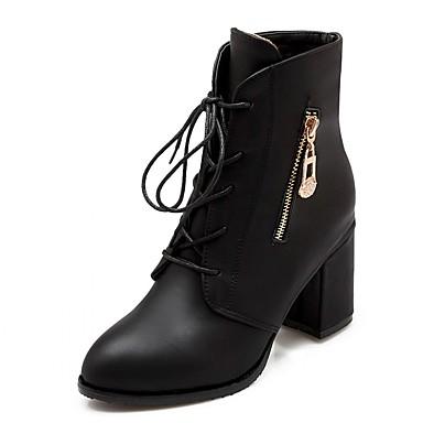 Feminino-Saltos-Botas da Moda Botas de Cowboy Botas de Neve Botas Montaria-Salto Grosso Salto de bloco-Preto Bege Vermelho-Sintético