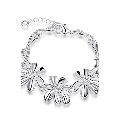 Dame Kæde & Lænkearmbånd Mode Europæisk Syntetiske ædelstene Sølv Sølvbelagt Legering Blomstformet Smykker Til Daglig Afslappet