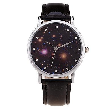 Damen Armbanduhr Modeuhr Quartz digital Strass Imitation Diamant Mond Phase Leder Band Charme Retro Süßigkeit Freizeit Cool Schwarz Weiß