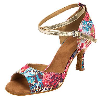 Women's Latin Shoes / Salsa Shoes Satin Sandal / Heel Heel Buckle / Flower Customized Heel Heel Customizable Dance Shoes Red / Indoor / Professional 822b8c