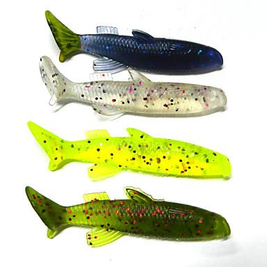 4 stk Sluk Shad Myk Lokkemat Myk Plastikk 3D Søfisking Agn Kasting Trolling- & Båtfiskeri Lokke Fiske