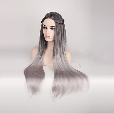 Heiße Weibliche Perücke Schwarz Grau Synthetische Perücken Für