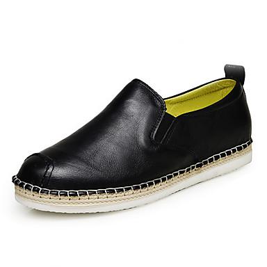 Dames Loafers & Slip-Ons Herfst Comfortabel Leer Casual Platte hak Zwart Rood
