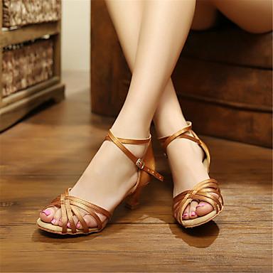 baratos Sapatos de Salsa-Mulheres Sapatos de Dança Cetim Sapatos de Dança Latina / Sapatos de Salsa Salto Salto Robusto Não Personalizável Preto / Vermelho / Azul Real / Couro / EU42