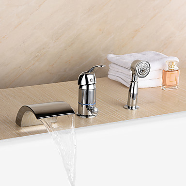 Contemporary Roman Tub Waterfall Handshower Included Ceramic Valve