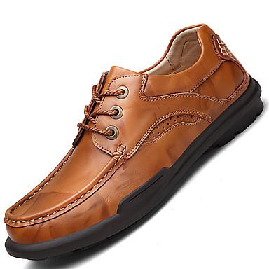 Masculino sapatos Couro Pele Primavera Verão Outono Inverno Conforto Oxfords Cadarço Para Casual Preto Marron