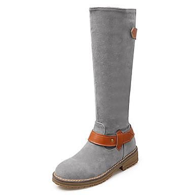 Feminino Sapatos Flanelado Outono Inverno Coturnos Botas da Moda Botas Plataforma Ziper Para Casual Social Festas & Noite Preto Cinzento