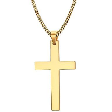 Herr Hänge Halsband Rostfritt stål Guldpläterad Kors damer Minimalistisk  Stil Mode Brun Halsband Smycken Till Julklappar Party Dagligen Casual f936c5bf8ec85
