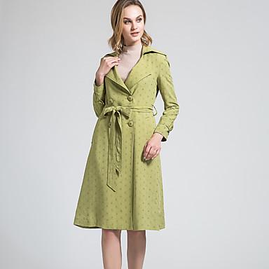 BORME® Feminino Colarinho de Camisa Manga Comprida Trench Coat Verde Claro-W003