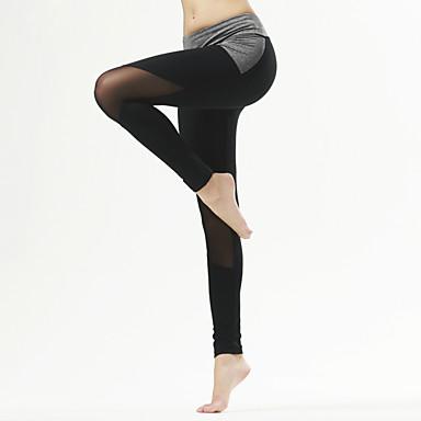 Yogabukser Tights Åndbart Hurtigtørrende Komprimering Bekvem Naturlig Strækkende Sportstøj Grå Sort DameYoga Pilates Træning & Fitness