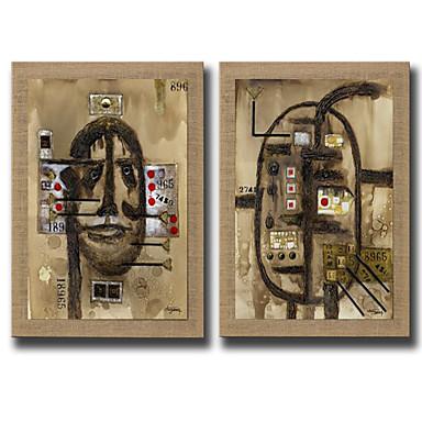 Handgeschilderde Abstract Fantasie Verticaal, Modern Kangas Hang-geschilderd olieverfschilderij Huisdecoratie Twee panelen
