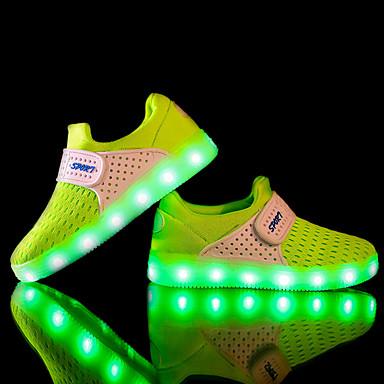 Jungen Schuhe Stoff Tüll Frühling Herbst Leuchtende LED-Schuhe Komfort Sneakers LED für Sportlich Schwarz Grau Fuchsia Grün Blau