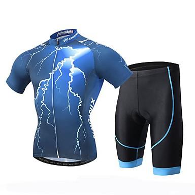 XINTOWN Herrn Kurzarm Fahrradtriktot mit Fahrradhosen Fahhrad Shorts/Laufshorts Trikot/Radtrikot Kleidungs-Sets, Rasche Trocknung,