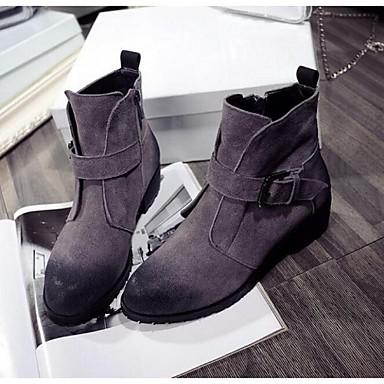 Støvler-Ruskind-Snowboots-Damer-Sort Grå-Udendørs-Tyk hæl