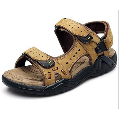 Sandaler-LæderHerrer-Brun Kakifarvet-Fritid-Flad hæl