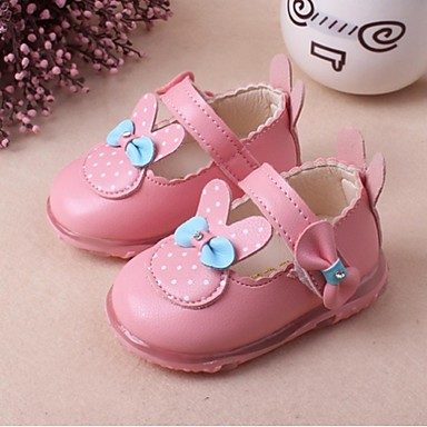 Para Meninas sapatos Couro Ecológico Outono Rasos Laço Para Casual Branco Vermelho Rosa claro