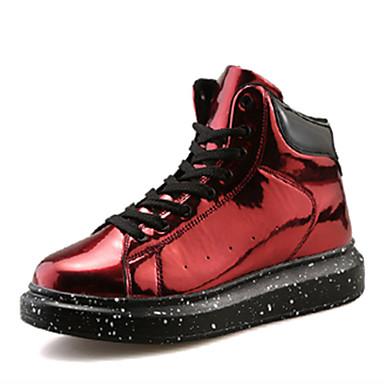 Dames Platte schoenen Lente / Herfst Comfortabel / Ronde neus PU Informeel Platte hak Veters / Overige Zwart / Rood / Zilver Others