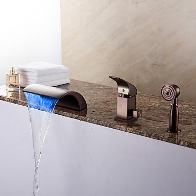 Modern Banheira Romana Cascata Chuveiro de Mão Incluído LED Válvula Cerâmica Três Aberturas Monocomando Três Buracos Bronze Polido a Óleo
