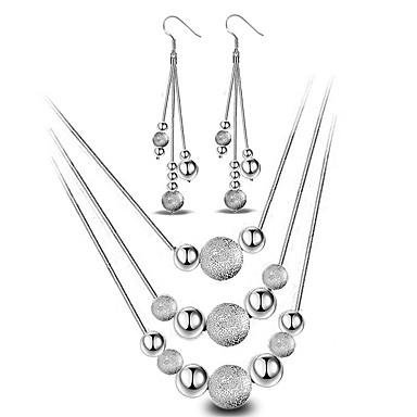 Damen Schmuck-Set - Sterling Silber Kugel Grundlegend, Simple Style, Modisch Einschließen Tropfen-Ohrringe / Anhängerketten Silber Für Hochzeit / Party / Alltag / Halsketten