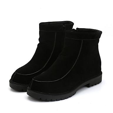 Damer Støvler Militærstøvler PU Efterår Vinter Afslappet Militærstøvler Tyk hæl Sort Rød 2,5-4,5 cm