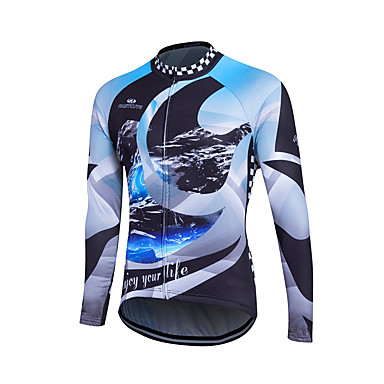 Fastcute 男性用 長袖 サイクリングジャージー バイク ジャージー, 保温, 速乾性, 高通気性 ポリエステル, クールマックス®, フリース