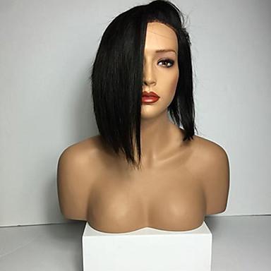 povoljno Perike i ekstenzije-Ljudska kosa Full Lace Perika Bob frizura stil Brazilska kosa Ravan kroj Perika s dječjom kosom Prirodna linija za kosu Afro-američka perika 100% rađeno rukom Žene Kratko Srednja dužina Perike s