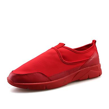 Herrer Sneakers Komfort Mikrofiber Forår Efterår Afslappet Gang Komfort Snøring Flad hæl Sort Rød Sort/Hvid Flad