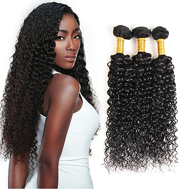 baratos Extensões de Cabelo Natural-3 pacotes com fechamento Cabelo Brasileiro Encaracolado Kinky Curly 8A Cabelo Humano Trama do cabelo com Encerramento Tramas de cabelo humano Extensões de cabelo humano / Crespo Cacheado