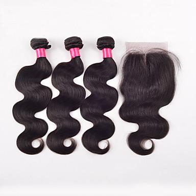 Cabelo Indiano Trama do cabelo com Encerramento Reto Extensões de cabelo 4 Peças Preto