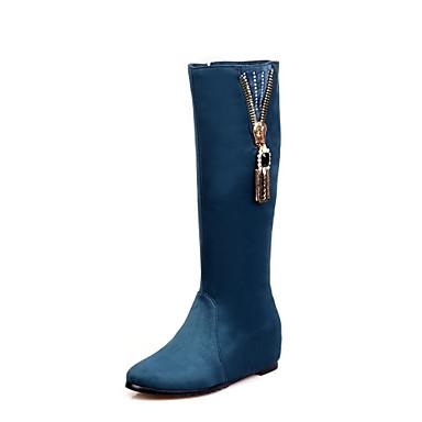 Støvler-Ruskind-Komfort / Modestøvler-Dame-Sort / Blå / Grøn-Udendørs / Kontor / Hverdag-Flad hæl