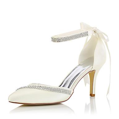 Damen Schuhe Seide Frühling Sommer High Heels Stöckelabsatz Strass für Hochzeit Kleid Party & Festivität Beige