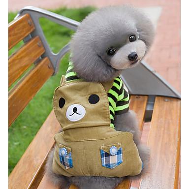 Cachorro Macacão Roupas para Cães Fofo Férias Urso Rosa claro Khaki