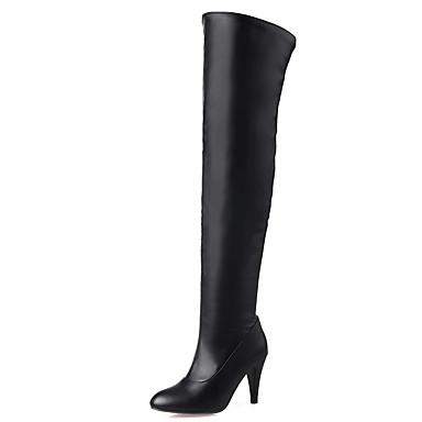 Støvler-Kunstlæder-Modestøvler-Dame-Sort Hvid Beige-Kontor Formelt Fritid-Stilethæl