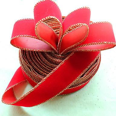 chiristmas decoraties aanbod pure rode kleur kerstboom linten met gouden rand partij decoratie supply