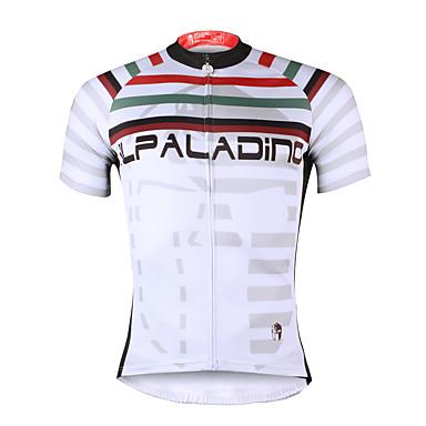 ILPALADINO Heren Korte mouw Wielrenshirt - Wit Fietsen Shirt, Sneldrogend, Ultra-Violetbestendig, Ademend, Zweetafvoerend, Reflecterende