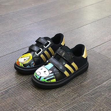 Unisex Baby Sneakers Komfort Mikrofiber Forår Efterår Afslappet Komfort Dyremønster Flad hæl Sort Flad