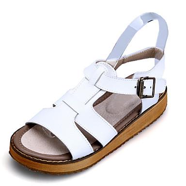 Damen Schuhe PU Sommer Sandalen Plattform Creepers Offene Spitze Schnalle für Normal Draussen Weiß Schwarz Silber